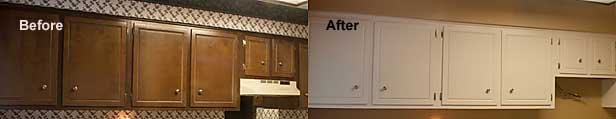 Before and after photo of kitchen cabinet makeover and remodel.