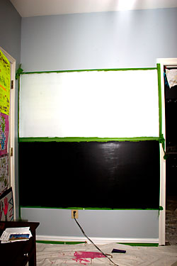 Wall painted with dry erase and chalkboard paint.