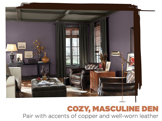 Sherwin-Williams paint color - Exclusive Plum, used in den.