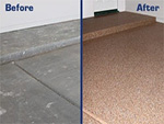 Garage floor before and after using garage floor sealer.