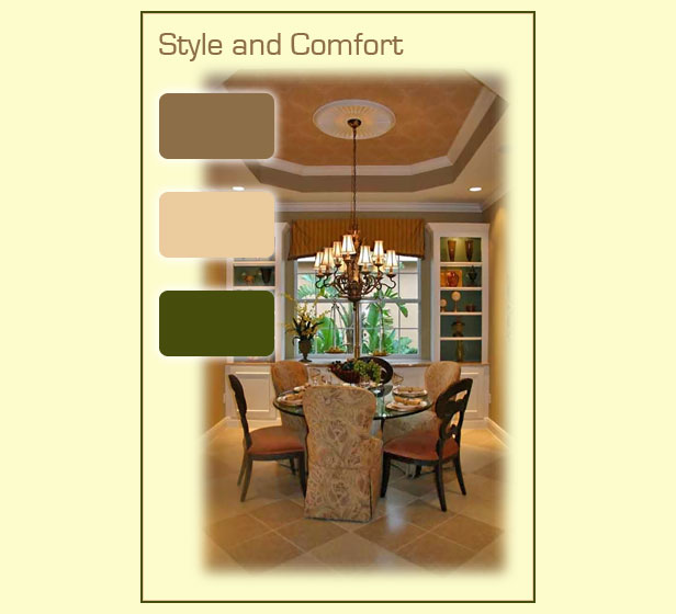 Comfortable paint colors found in a stylish dining room