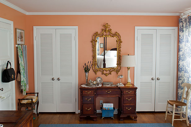 Master Bedroom painted with Sherwin-Williams paint color, Drawing Room Wallpaper.