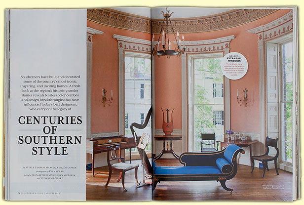 Drawing Room of Nathaniel Russell House from August 2013 publication of Southern Living.